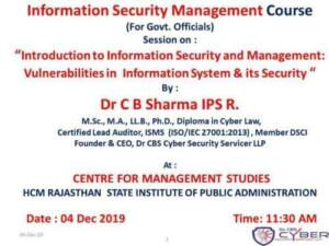 HCM Rajasthan State Institute of Public Administration, Jaipur 2/12/2019 Information Technology Act 2000 & Provisions related to Cyber Crime