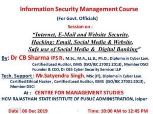 St. John's School, Pal road, Jodhpur 7/12/2019 Safe use of Computer, Mobile, Internet, Wi-Fi, Hotspot, Email, Social Media and Digital Banking