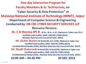 Malviya National Institute of Technology (MNIT), Jaipur 20/12/2019 Cyber Security & Data Protection
