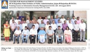 HCM Rajasthan State Institute of Public Administration (OTS), Jaipur, 28/08/2017-30/08/2017 3 days course on Information Security Management System