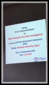 Manipal University Jaipur 18-09-2018 Cyber Security: Safe use of Computer and Mobile