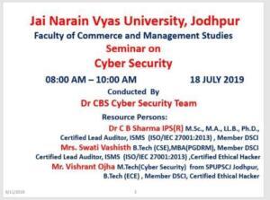 Jai Narayan Vyas University 18/07/2019 Cyber Security