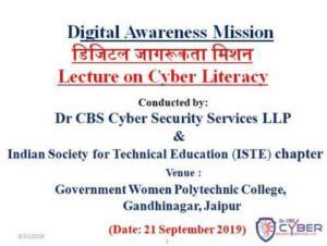 MGovt. Women Polytechnic College, Jaipur 21/09/2019 Cyber Literacy